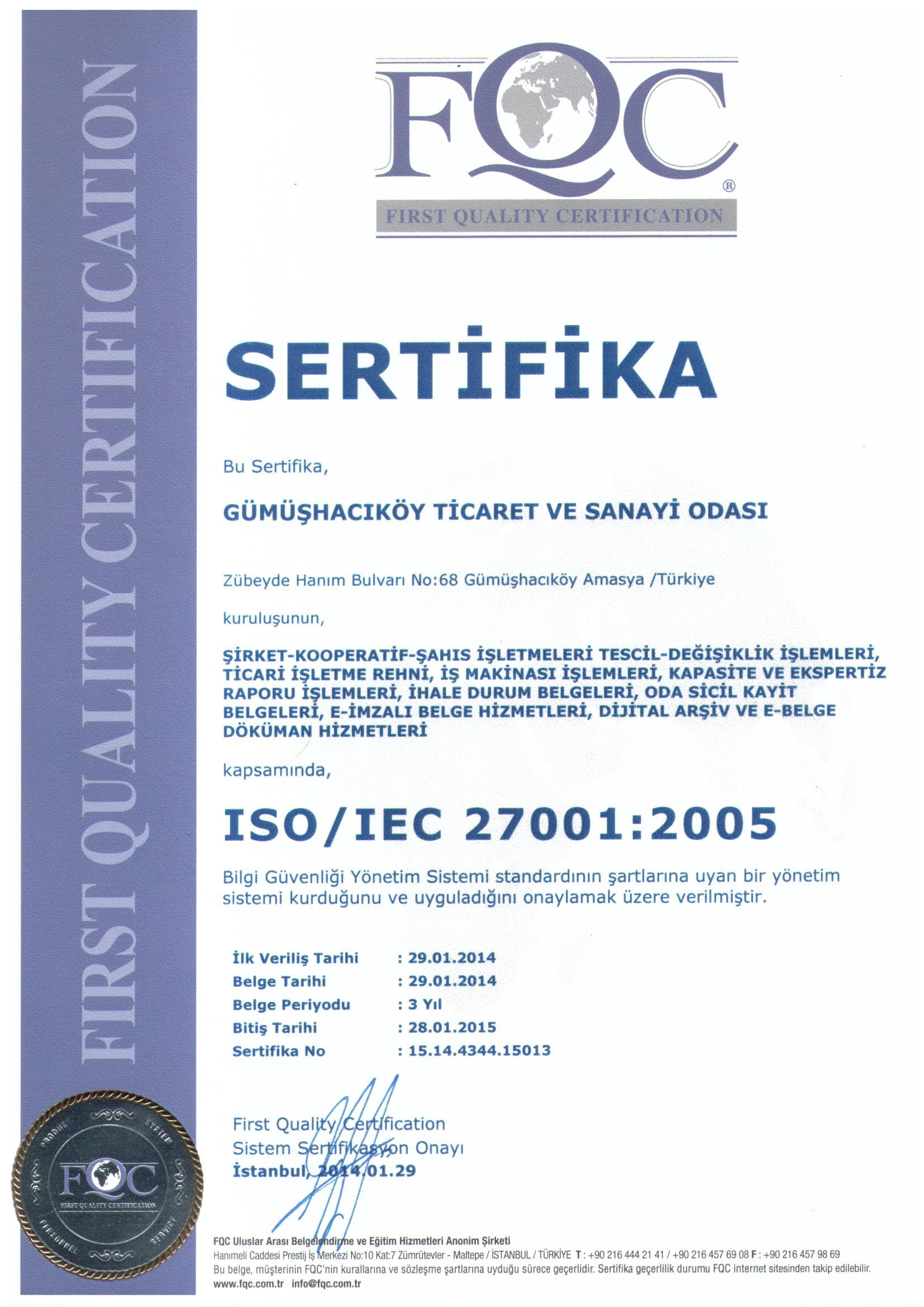 GÜMÜŞHACIKÖY TSO İSO 27001-2005 BELGESİ