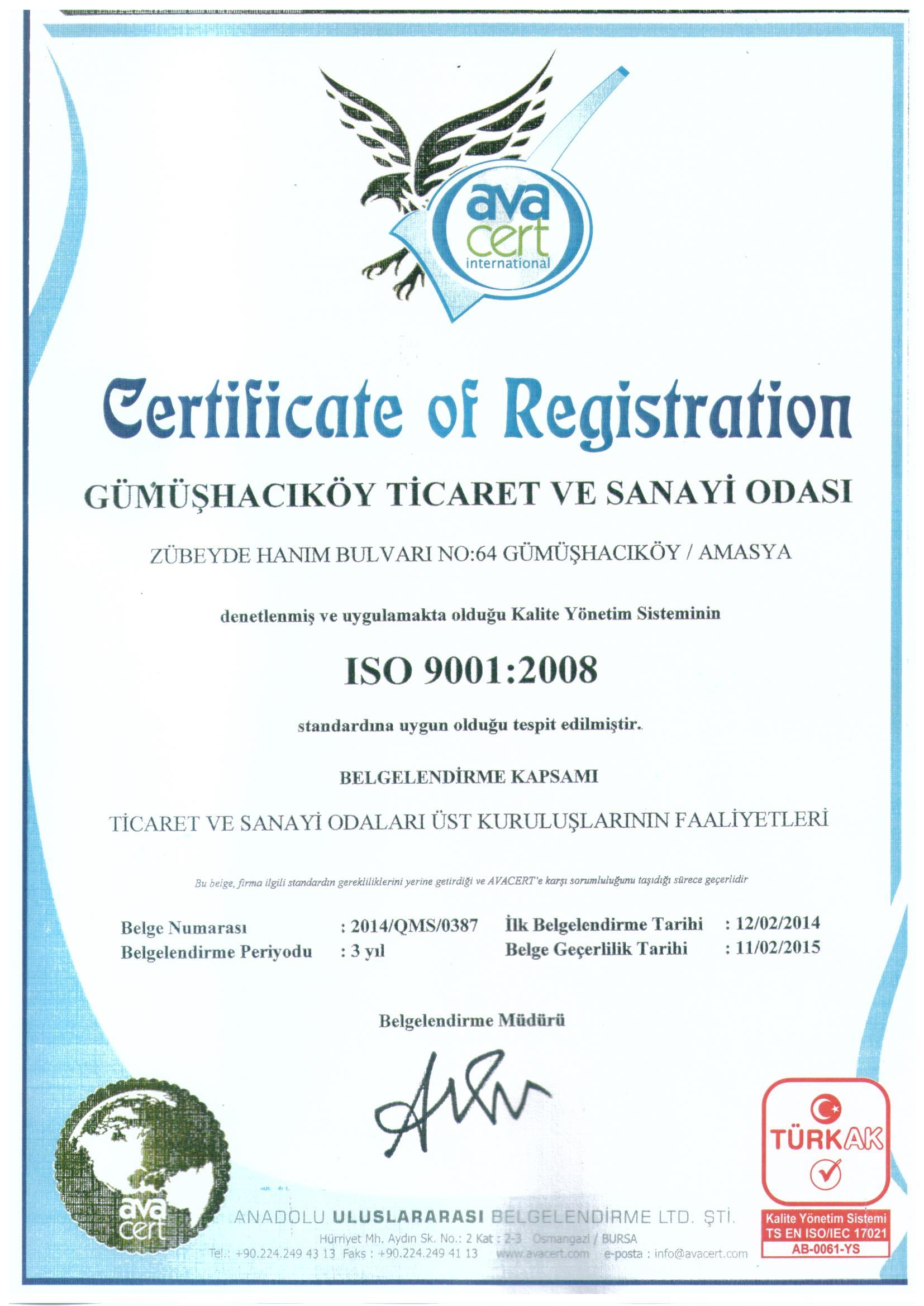 GÜMÜŞHACIKÖY TSO ISO 9001-2008